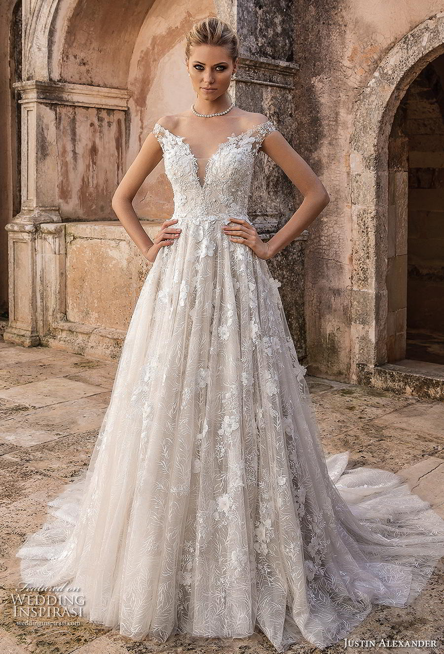 justin alexander spring 2019 bridal off the shoulder deep plunging v neck full embellishment romantic a line wedding dress mid back chapel train (3) mv
