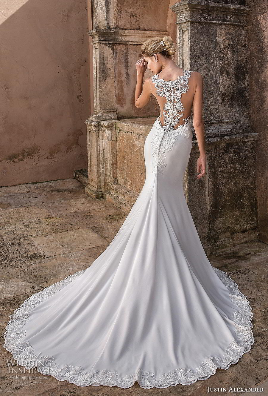 justin alexander spring 2019 bridal sleeveless embellished strap sweetheart neckline heavily embellished bodice hem elegant fit and flare wedding dress lace button back chapel train (13) bv