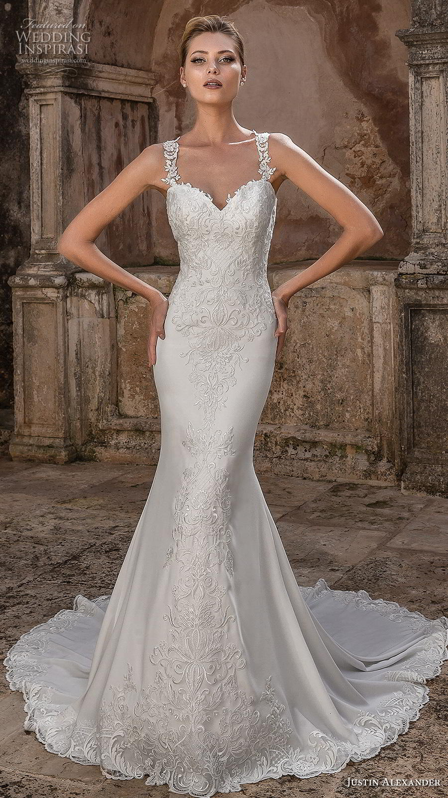 justin alexander spring 2019 bridal sleeveless embellished strap sweetheart neckline heavily embellished bodice hem elegant fit and flare wedding dress lace button back chapel train (13) mv