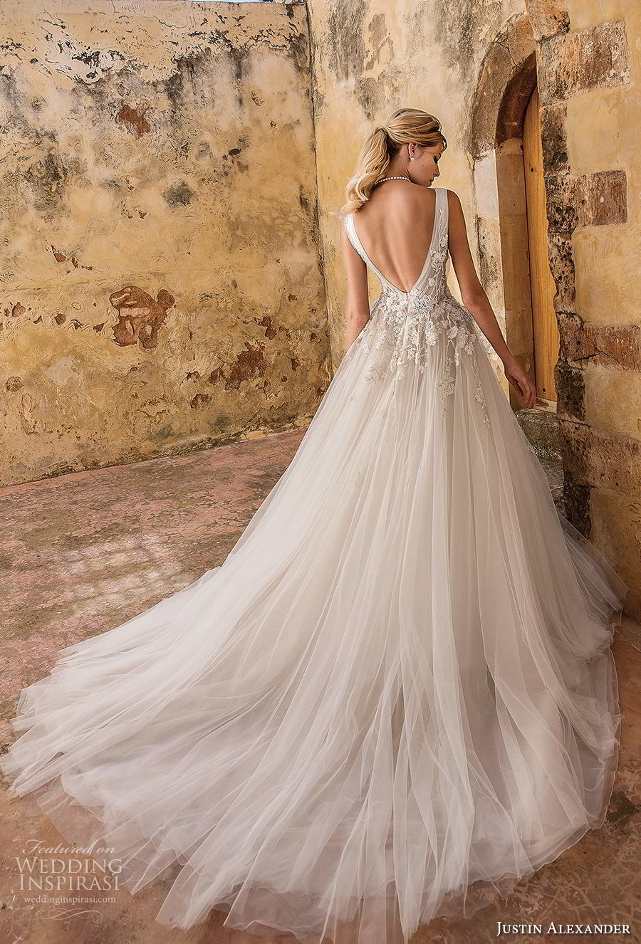 justin alexander spring 2019 bridal sleeveless v neck heavily embellished bodice tulle skirt romantic a line wedding dress backless v back chapel train (4) bv