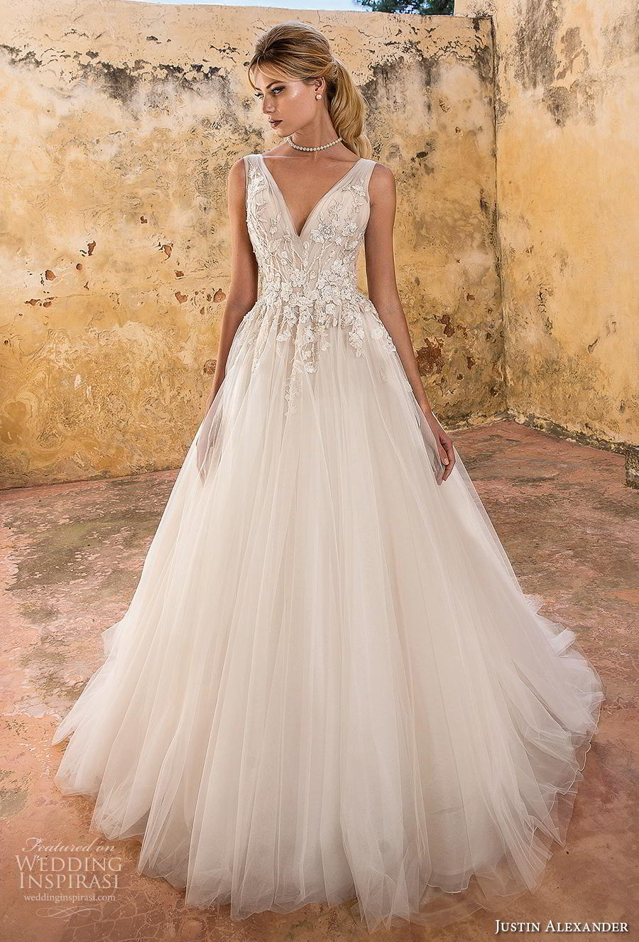 justin alexander spring 2019 bridal sleeveless v neck heavily embellished bodice tulle skirt romantic a line wedding dress backless v back chapel train (4) mv
