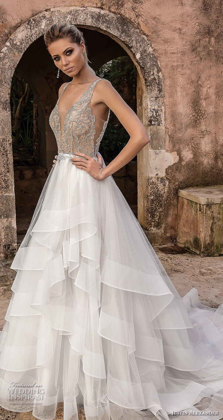 justin alexander spring 2019 bridal sleeveless with strap deep plunging v neck heavily embellished bodice tiered skirt romantic a line wedding dress backless v back chapel train (6) mv