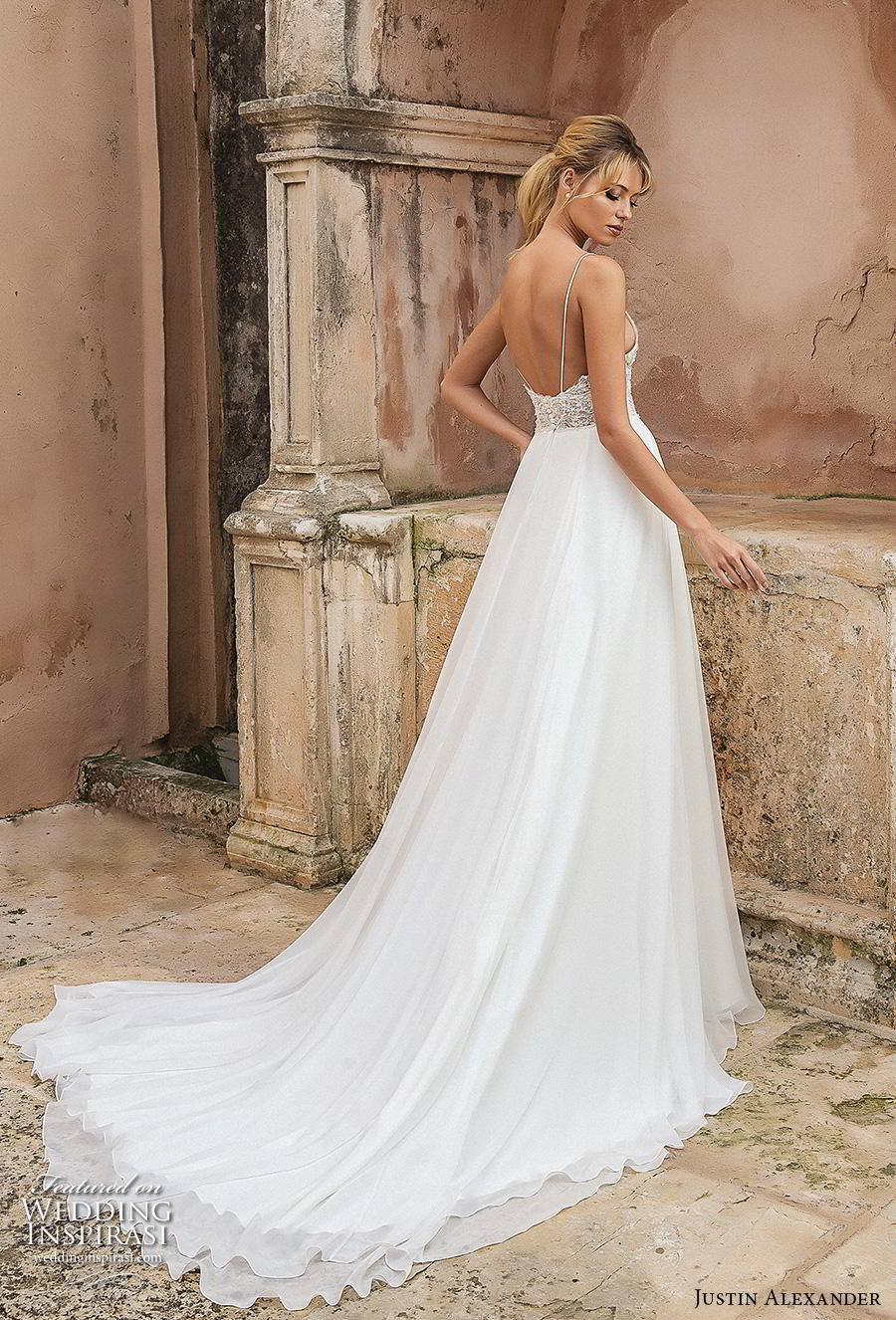 justin alexander spring 2019 bridal spaghetti strap deep sweetheart neckline heavily embellished bodice slit skirt sexy romantic soft a line wedding dress backless chapel train (9) bv