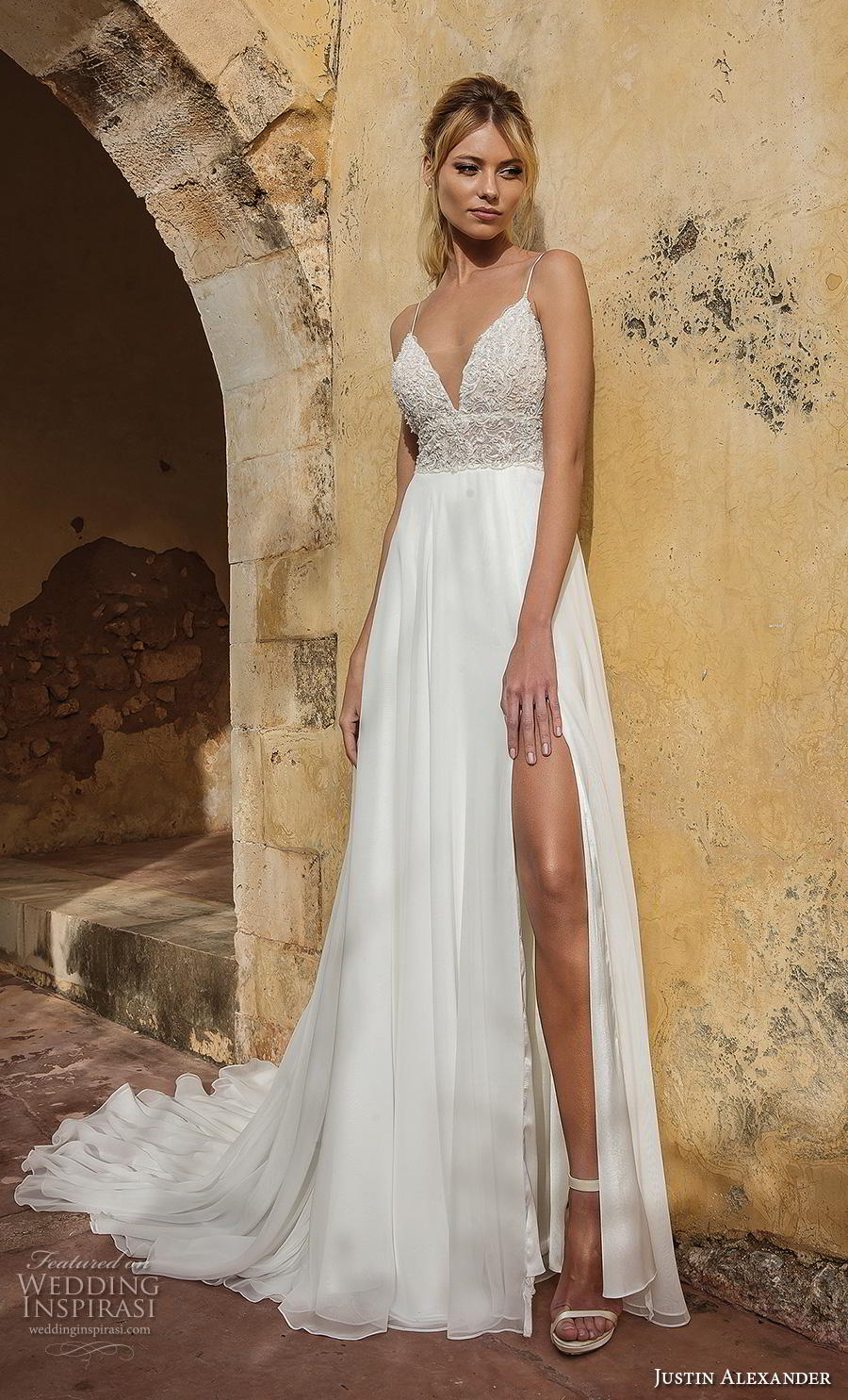 justin alexander spring 2019 bridal spaghetti strap deep sweetheart neckline heavily embellished bodice slit skirt sexy romantic soft a line wedding dress backless chapel train (9) mv