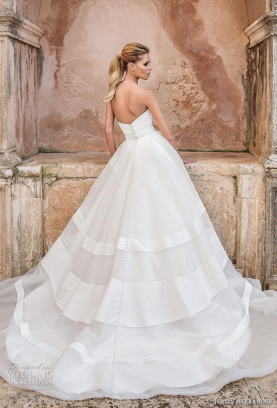 justin alexander spring 2019 bridal strapless straight across neckline simple ribbon waist romantic ball gown a line wedding dress chapel train (18) bv