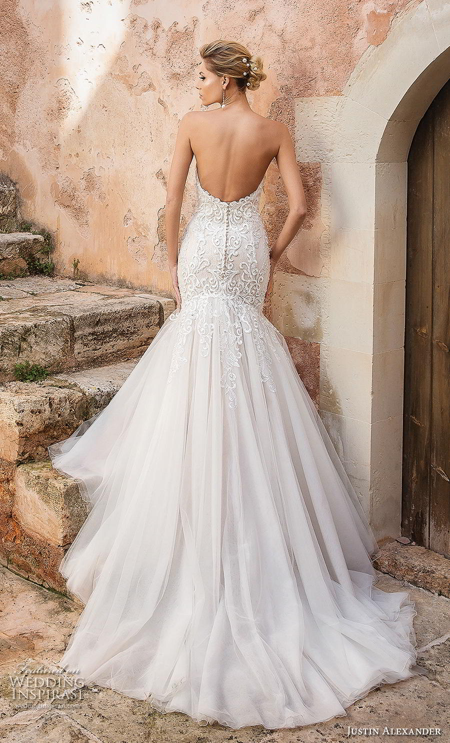 justin alexander spring 2019 bridal strapless sweetheart neckline full embellishment elegant romantic mermaid wedding dress backless chapel train (8) bv