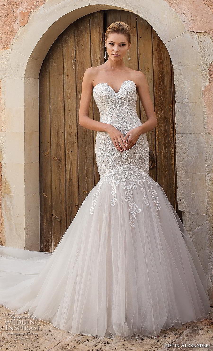 justin alexander spring 2019 bridal strapless sweetheart neckline full embellishment elegant romantic mermaid wedding dress backless chapel train (8) mv