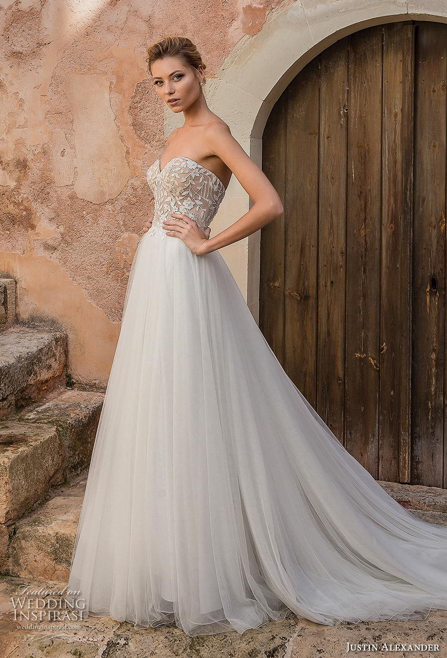 justin alexander spring 2019 bridal strapless sweetheart neckline heavily embellished bodice tulle skirt romantic a line wedding dress backless chapel train (16) mv