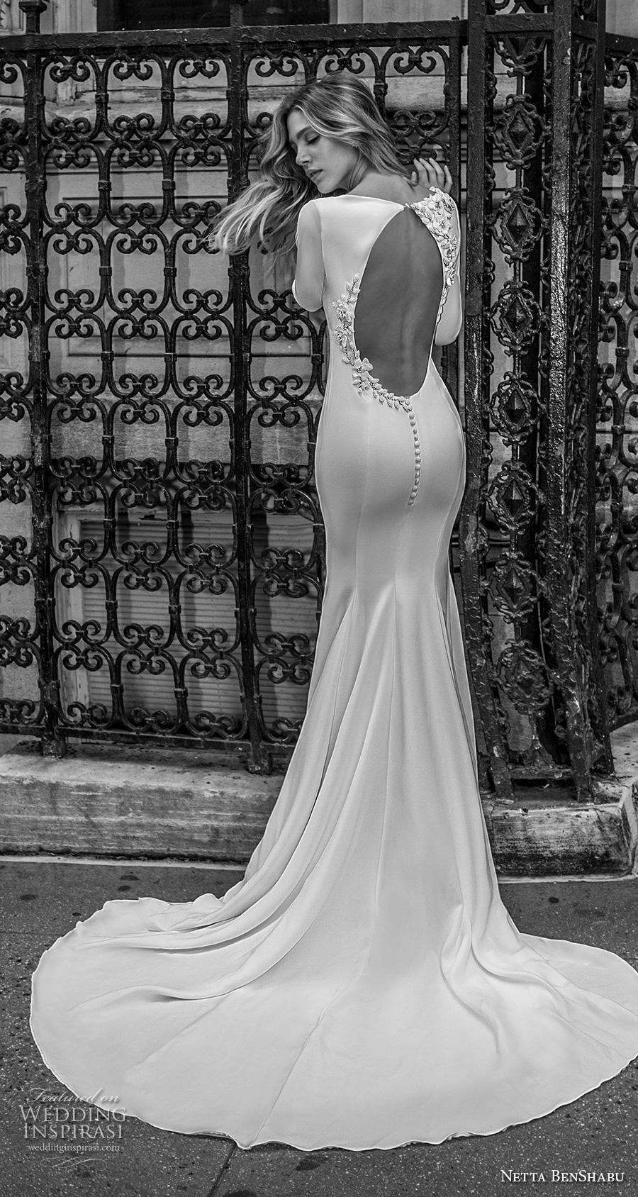 netta benshabu fall 2019 bridal long sleeves bateau neckline simple minimalist clean elegant fit and flare wedding dress low backless open back chapel train (13) bv