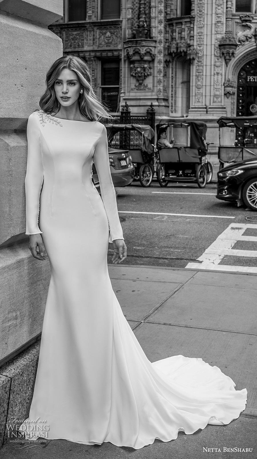netta benshabu fall 2019 bridal long sleeves bateau neckline simple minimalist clean elegant fit and flare wedding dress low backless open back chapel train (13) mv