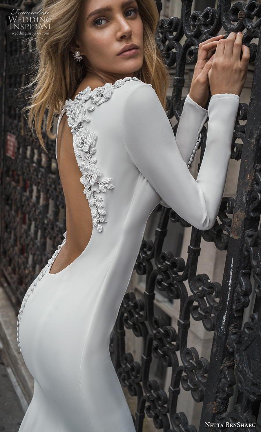 netta benshabu fall 2019 bridal long sleeves bateau neckline simple minimalist clean elegant fit and flare wedding dress low backless open back chapel train (13) zbv