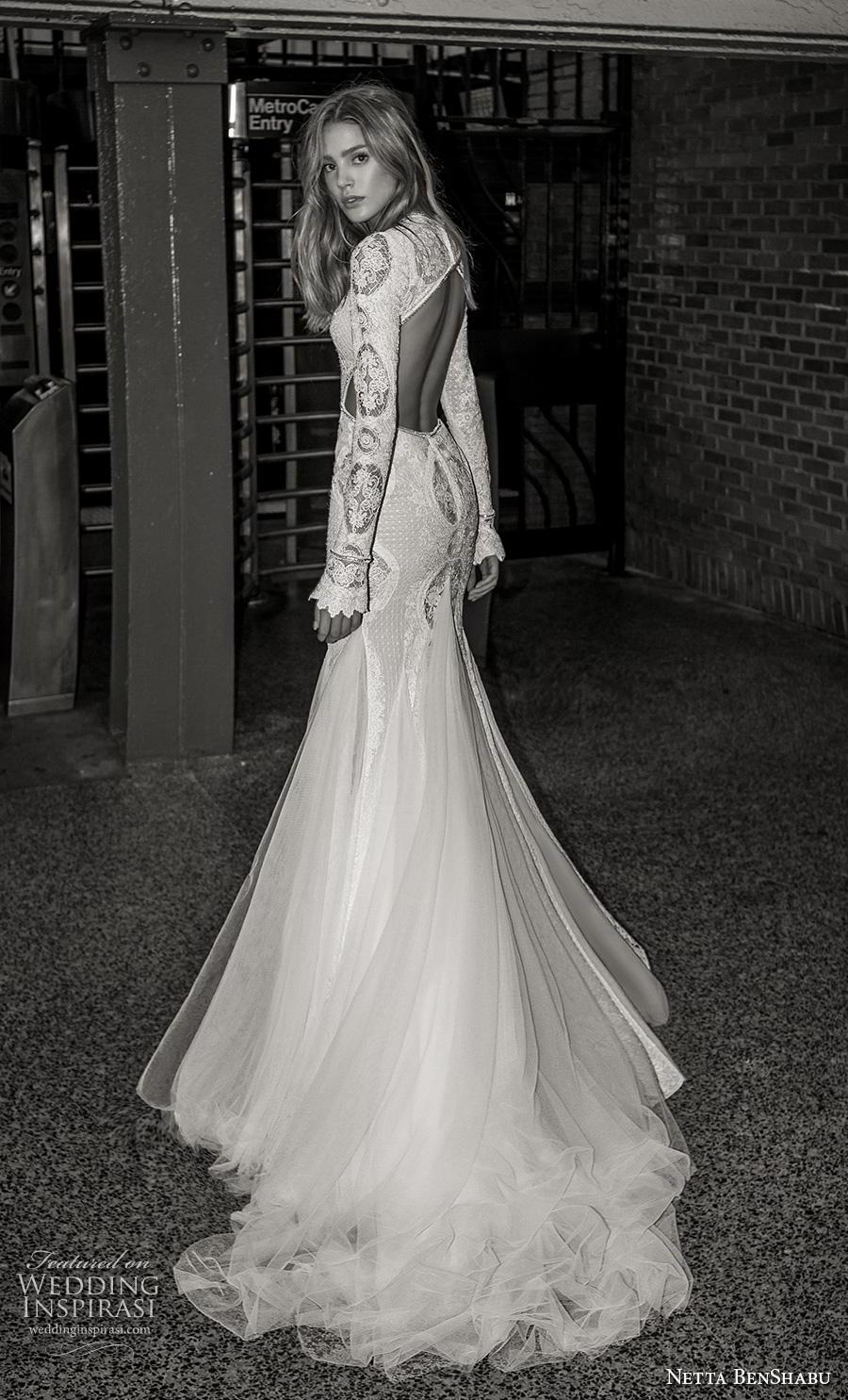 netta benshabu fall 2019 bridal long sleeves high neck keyhole bodice full embellishment slit skirt glamorous mermaid wedding dress keyhole back medium train (19) bv