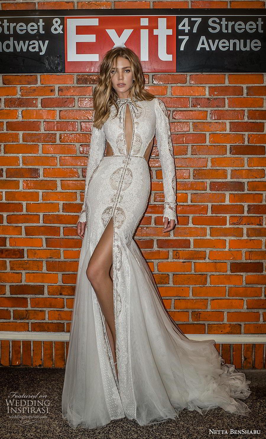 netta benshabu fall 2019 bridal long sleeves high neck keyhole bodice full embellishment slit skirt glamorous mermaid wedding dress keyhole back medium train (19) mv