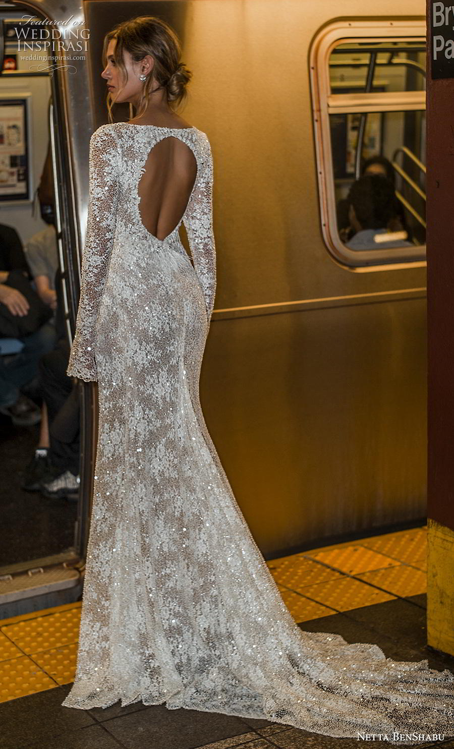 netta benshabu fall 2019 bridal long sleeves v neck wrap over full embellishment high slit skirt sexy elegant sheath wedding dress keyhole back medium train (10) bv