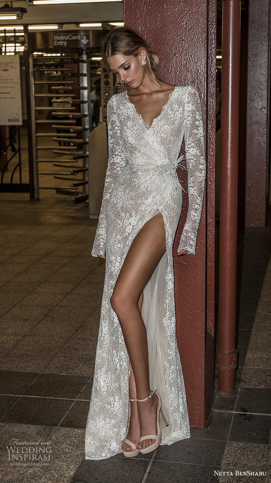 netta benshabu fall 2019 bridal long sleeves v neck wrap over full embellishment high slit skirt sexy elegant sheath wedding dress keyhole back medium train (10) mv