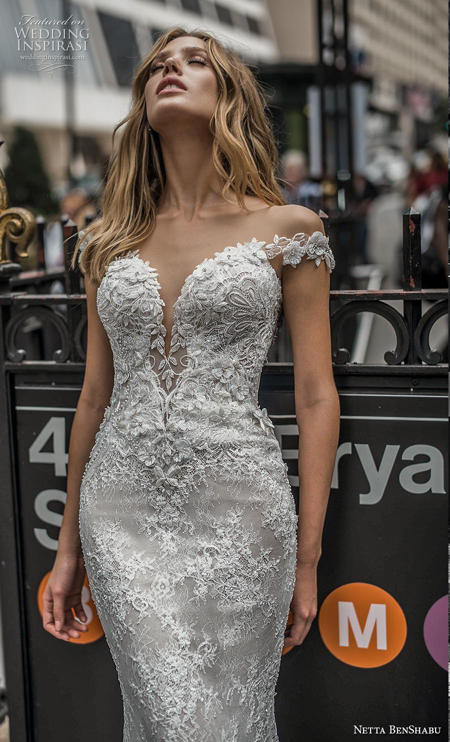netta benshabu fall 2019 bridal off the shoulder cap sleeves deep plunging sweetheart neckline elegant fit and flare wedding dress backless v back medium train (9) zv