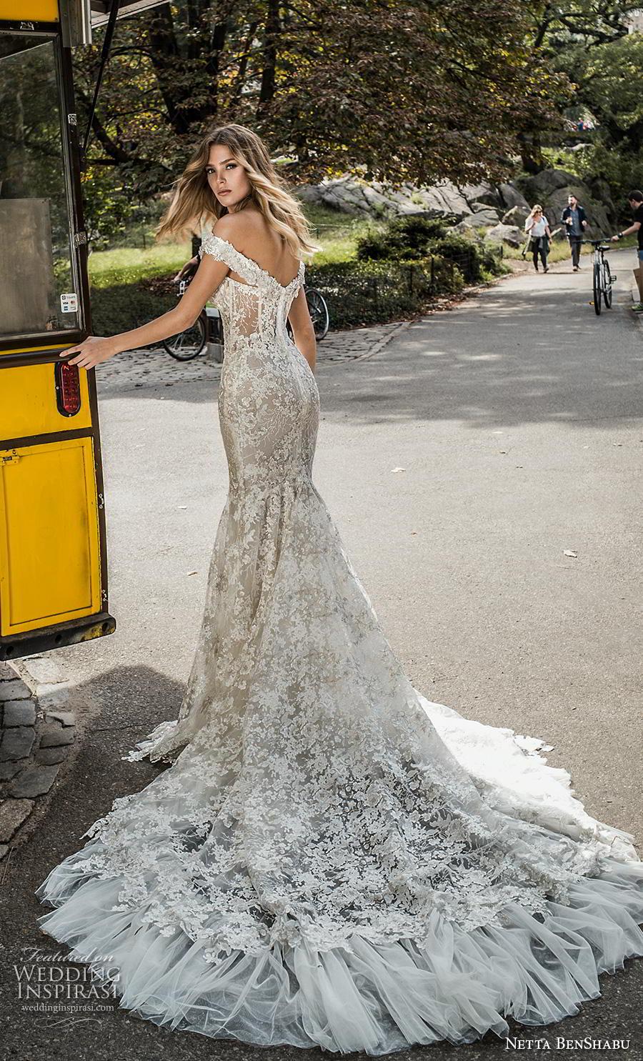 netta benshabu fall 2019 bridal off the shoulder sweetheart neckline full embellishment elegant mermaid wedding dress mid back chapel train (16) bv