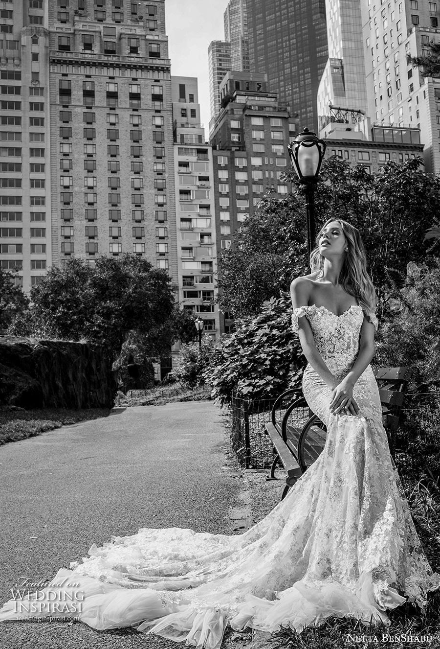 netta benshabu fall 2019 bridal off the shoulder sweetheart neckline full embellishment elegant mermaid wedding dress mid back chapel train (16) mv
