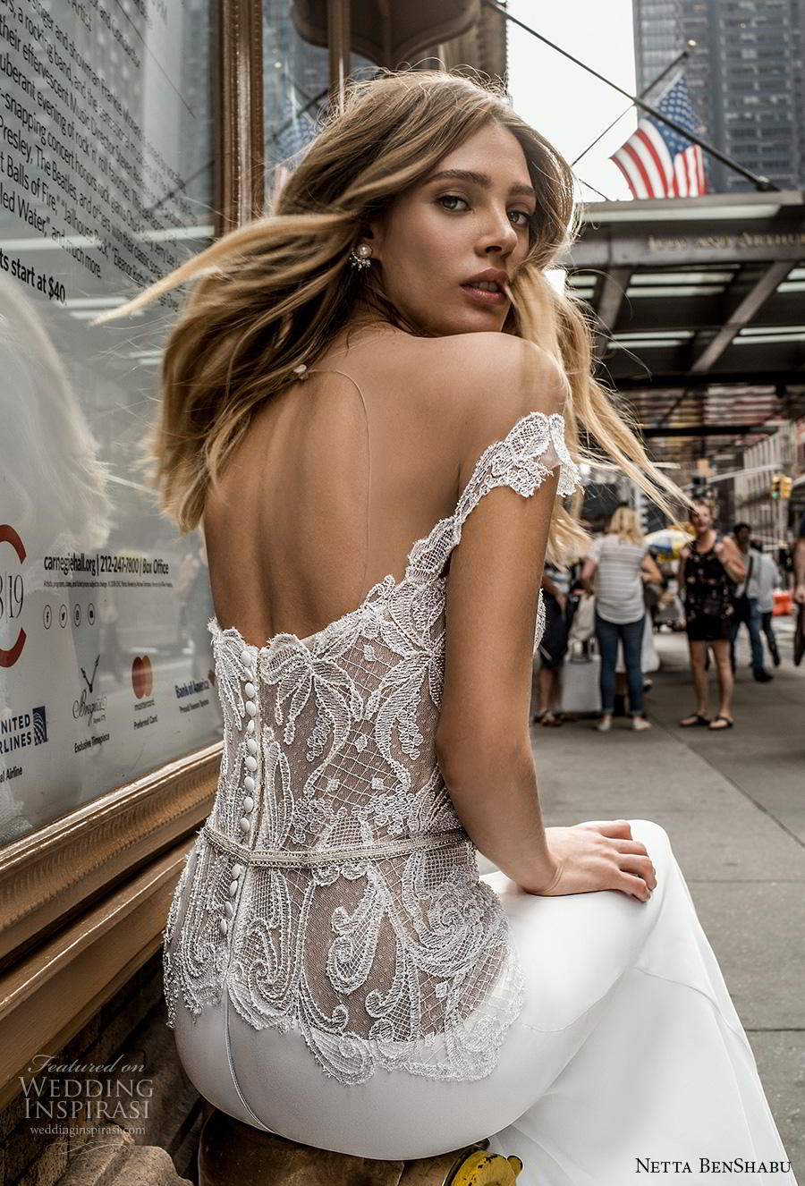 netta benshabu fall 2019 bridal off the shoulder sweetheart neckline heavily embellished bodice elegant fit and flare wedding dress mid back chapel train (21) zbv