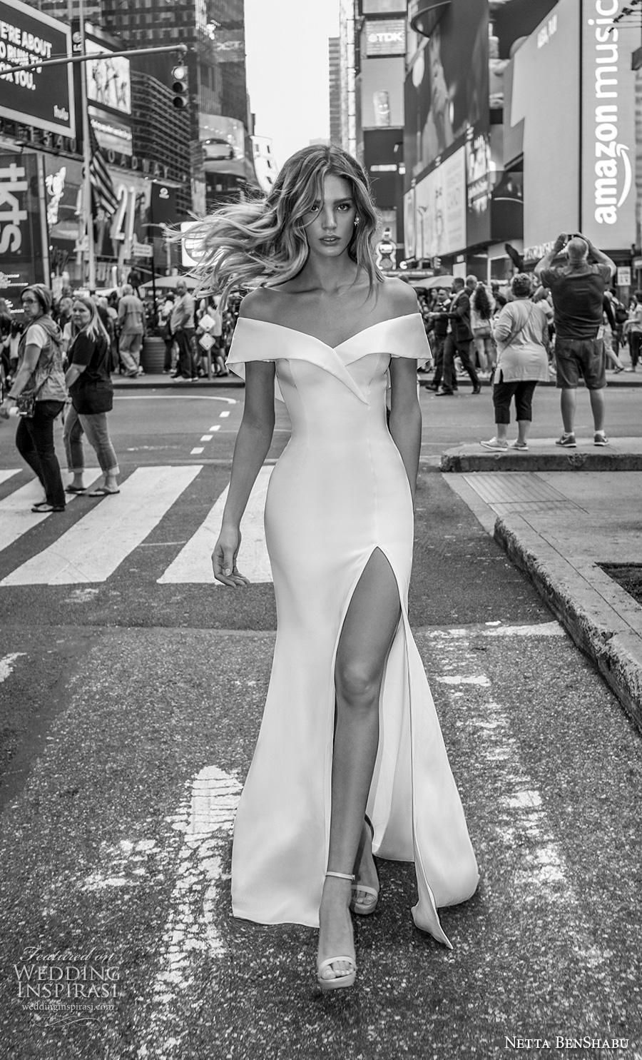 netta benshabu fall 2019 bridal off the shoulder v neck simple minimalist clean high slit skirt elegant fit and flare wedding dress medium train (18) mv