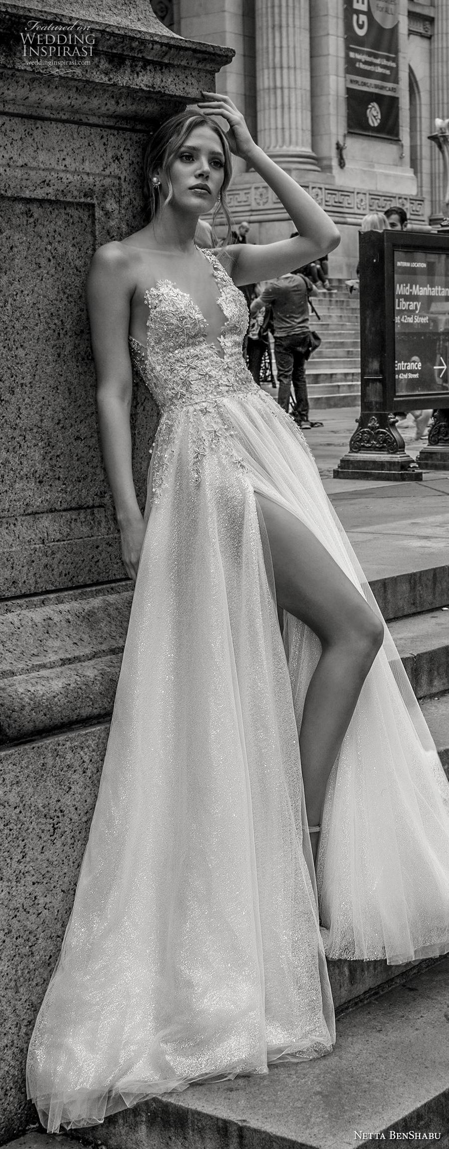 netta benshabu fall 2019 bridal one shoulder strap deep v neck heavily embellished bodice high slit skirt soft a  line wedding dress keyhole back chapel train (11) lv