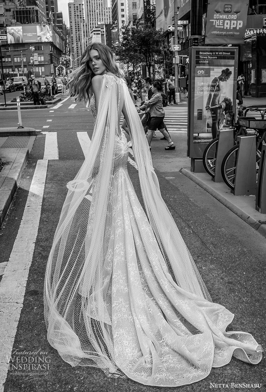 netta benshabu fall 2019 bridal sleeveless deep v neck full embellishment elegant glamorous fit and flare wedding dress low sheer button back chapel train (7) bv