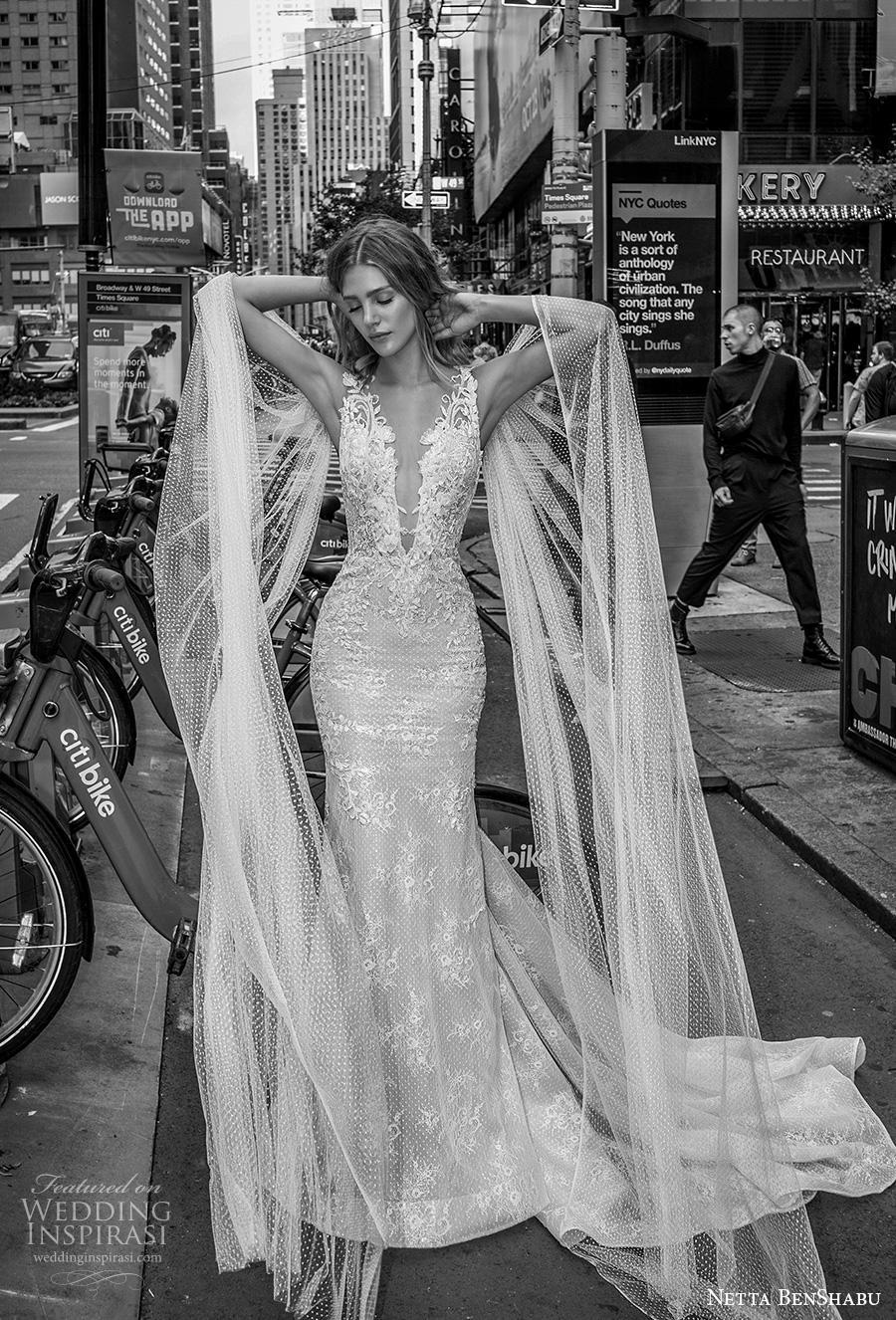 netta benshabu fall 2019 bridal sleeveless deep v neck full embellishment elegant glamorous fit and flare wedding dress low sheer button back chapel train (7) mv