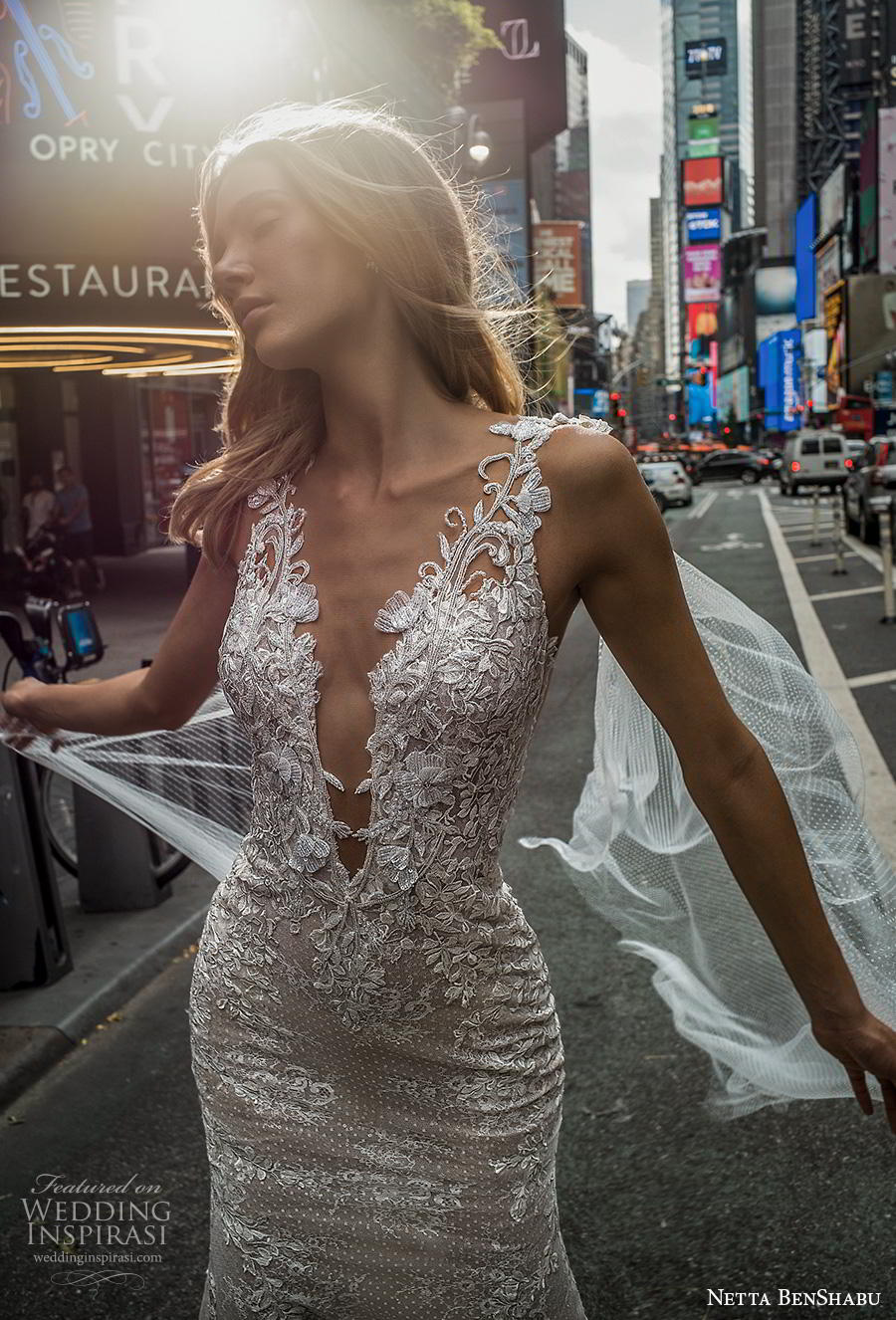 netta benshabu fall 2019 bridal sleeveless deep v neck full embellishment elegant glamorous fit and flare wedding dress low sheer button back chapel train (7) zv