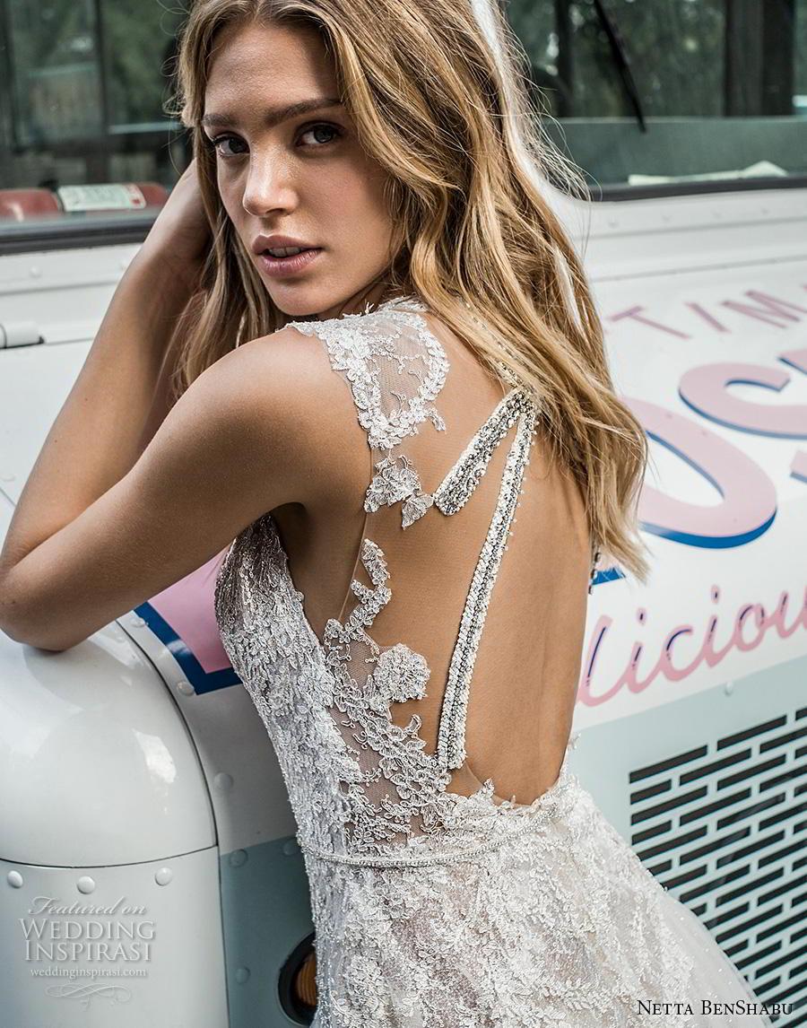 netta benshabu fall 2019 bridal sleeveless deep v neck heavily embellished bodice romantic a  line wedding dress keyhole back (1) bv