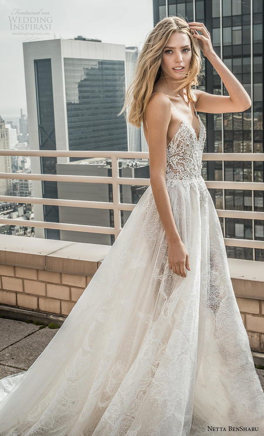 netta benshabu fall 2019 bridal sleeveless spaghetti strap sweetheart neckline heavily embellished bodice romantic a  line wedding dress (2) mv