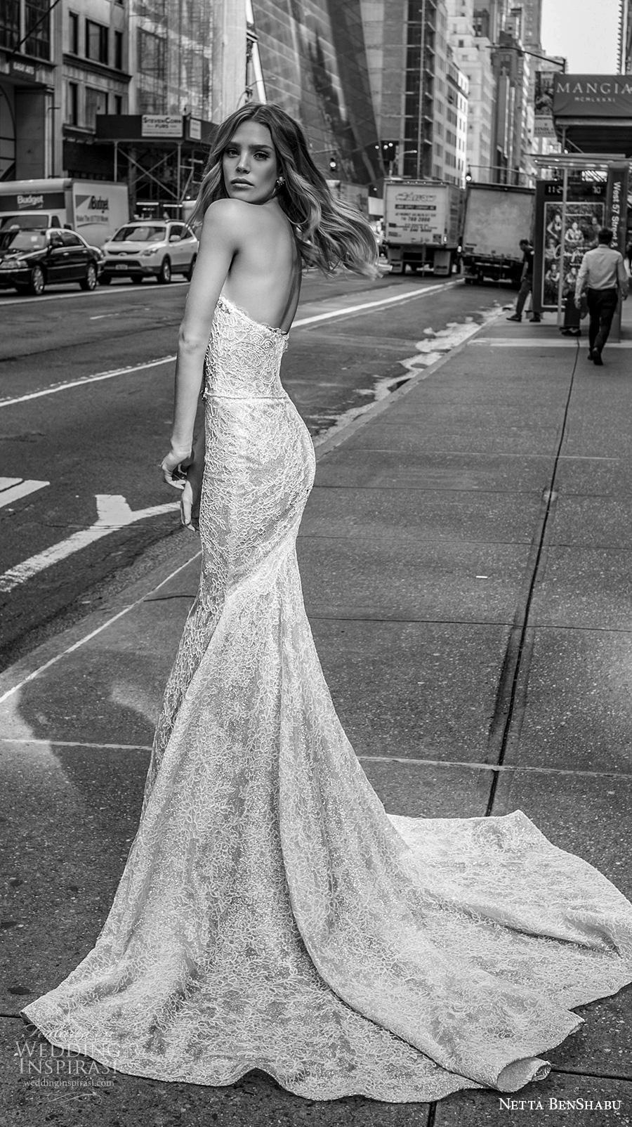 netta benshabu fall 2019 bridal strapless sweetheart neckline full embellishment bustier elegant fit and flare wedding dress mid back medium train (6) bv