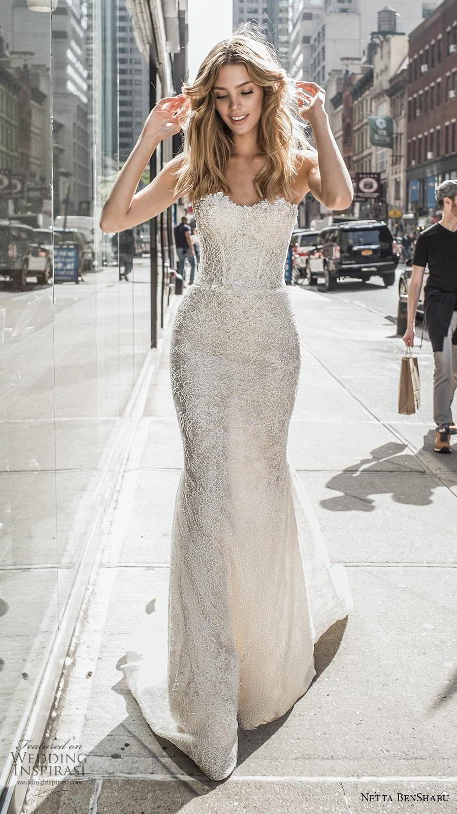 netta benshabu fall 2019 bridal strapless sweetheart neckline full embellishment bustier elegant fit and flare wedding dress mid back medium train (6) mv