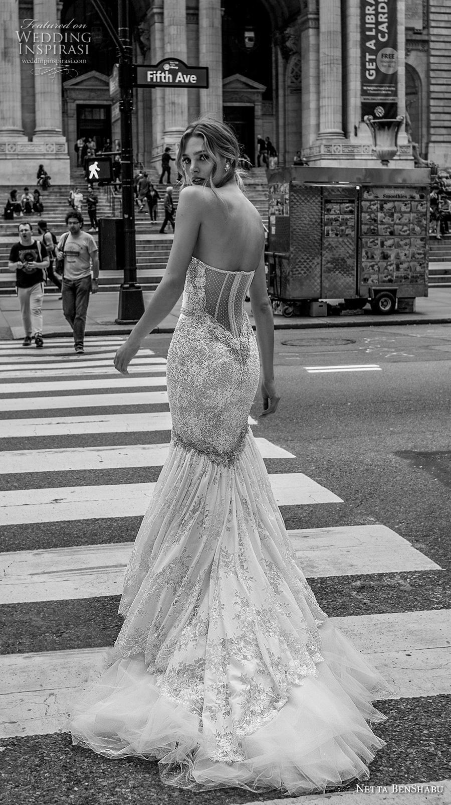 netta benshabu fall 2019 bridal strapless sweetheart neckline full embellishment elegant glamorous mermaid wedding dress mid back medium train (4) bv