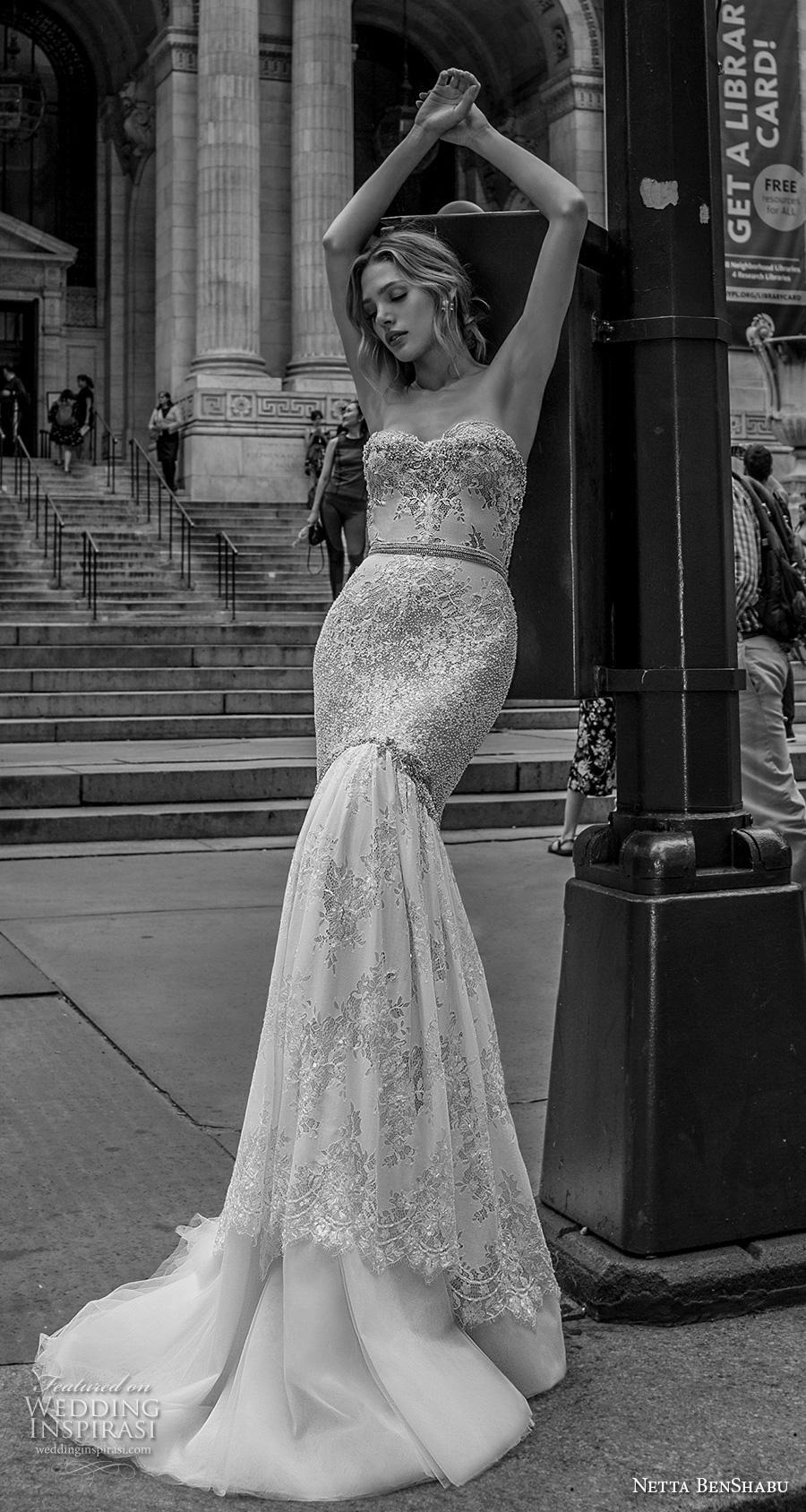 netta benshabu fall 2019 bridal strapless sweetheart neckline full embellishment elegant glamorous mermaid wedding dress mid back medium train (4) mv