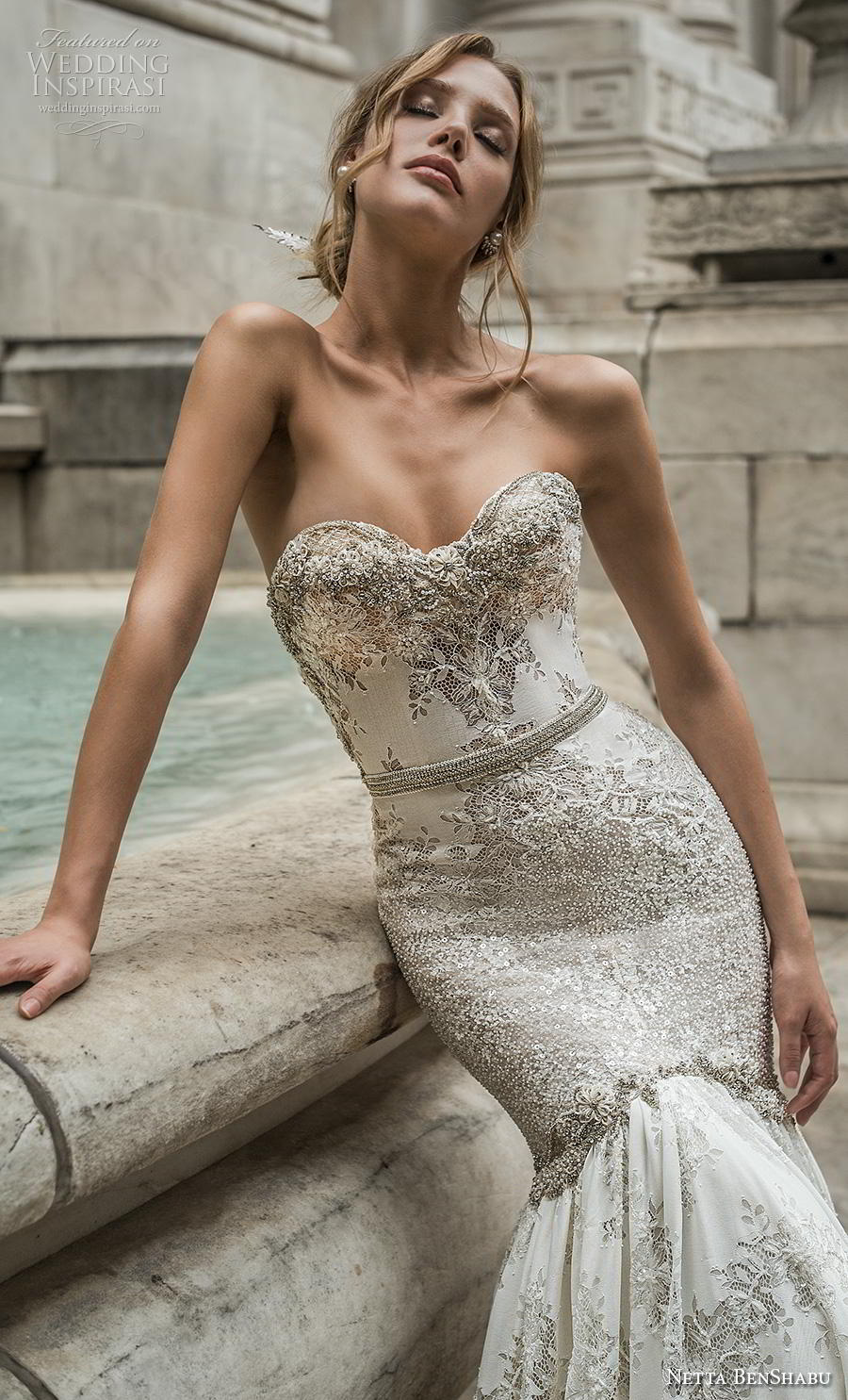netta benshabu fall 2019 bridal strapless sweetheart neckline full embellishment elegant glamorous mermaid wedding dress mid back medium train (4) zv