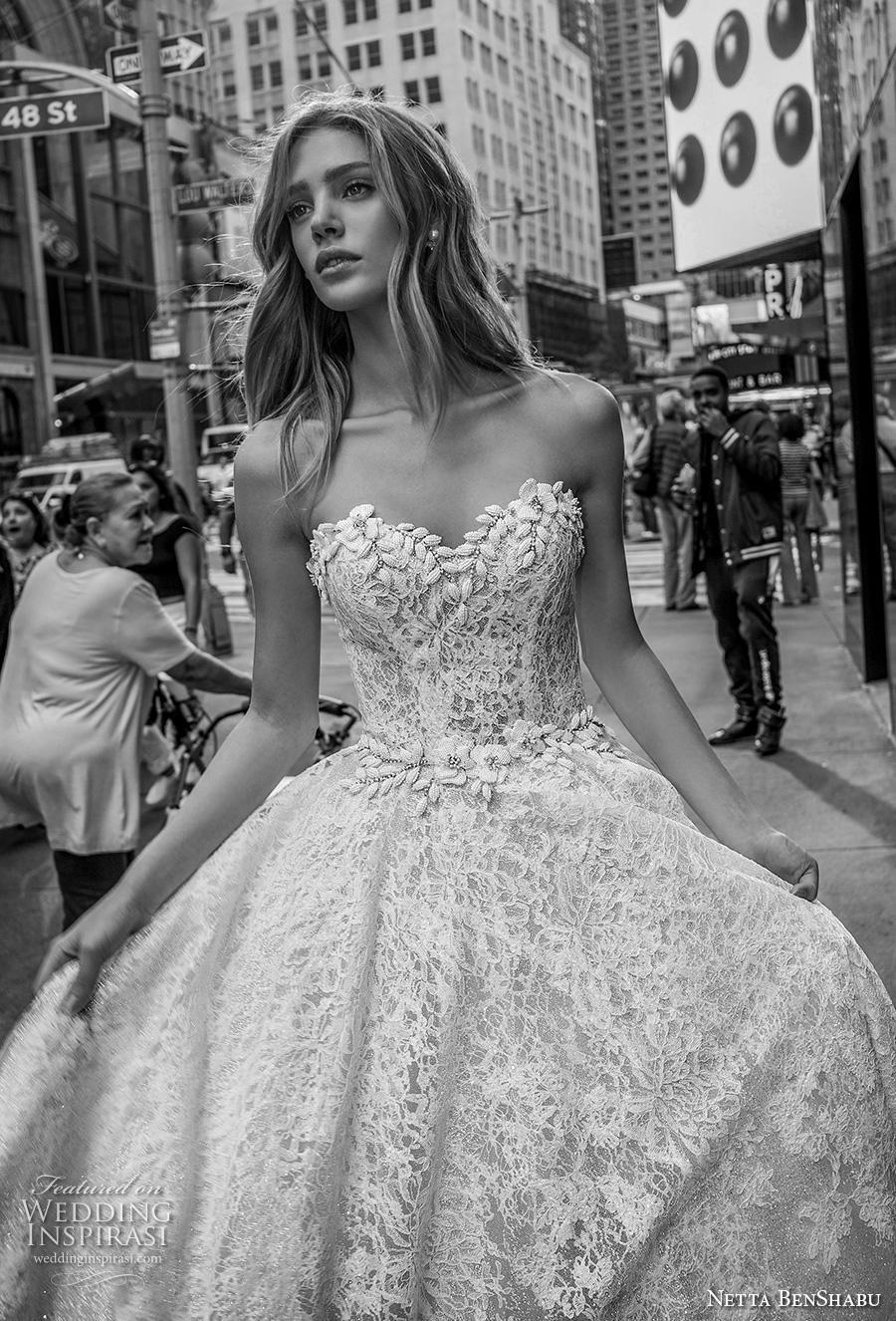 netta benshabu fall 2019 bridal strapless sweetheart neckline full embellishment romantic princess ball gown a  line wedding dress mid back (8) zv