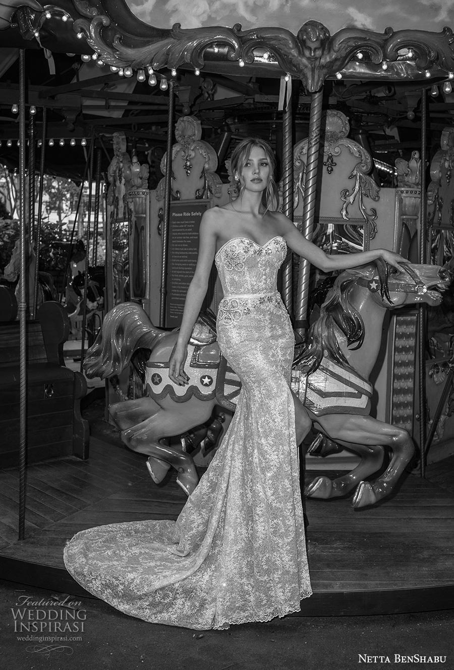 netta benshabu fall 2019 bridal strapless sweetheart neckline full embellishment slit skirt elegant fit and flare wedding dress mid back medium train (20) mv