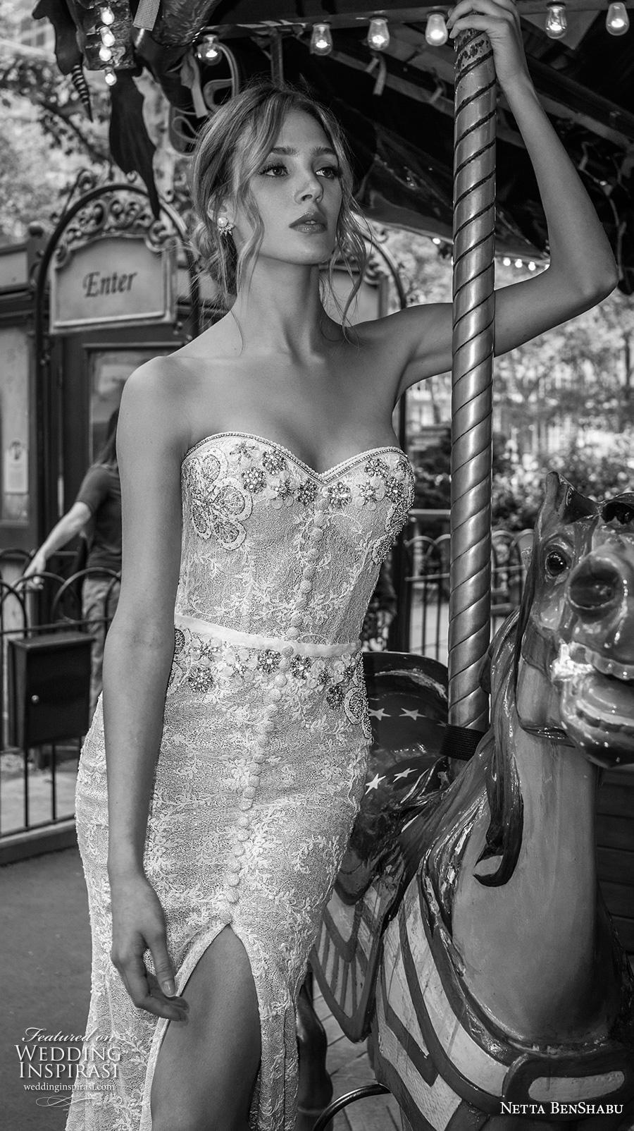 netta benshabu fall 2019 bridal strapless sweetheart neckline full embellishment slit skirt elegant fit and flare wedding dress mid back medium train (20) zv