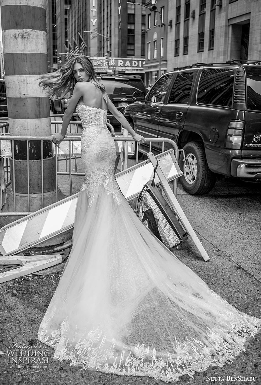 netta benshabu fall 2019 bridal strapless sweetheart neckline heavily embellished bodice elegant mermaid wedding dress mid back chapel train (5) bv
