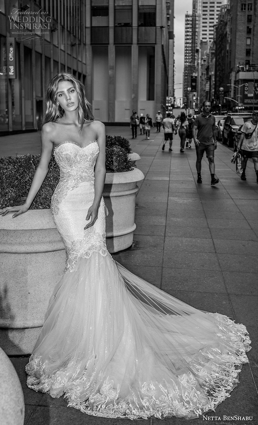 netta benshabu fall 2019 bridal strapless sweetheart neckline heavily embellished bodice elegant mermaid wedding dress mid back chapel train (5) mv