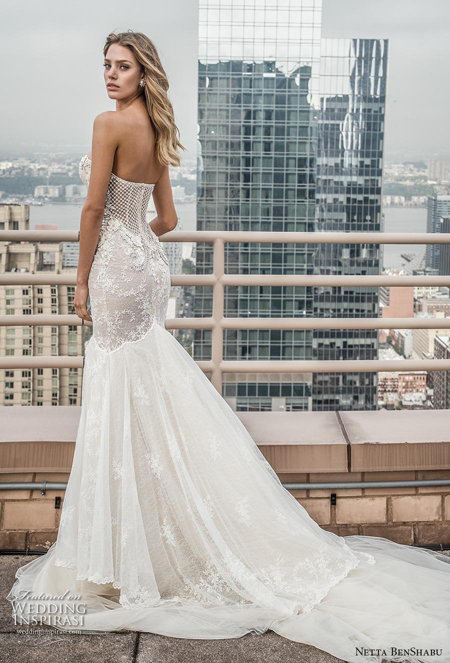 netta benshabu fall 2019 bridal strapless sweetheart neckline heavily embellished bodice elegant sexy mermaid wedding dress chapel train (3) bv