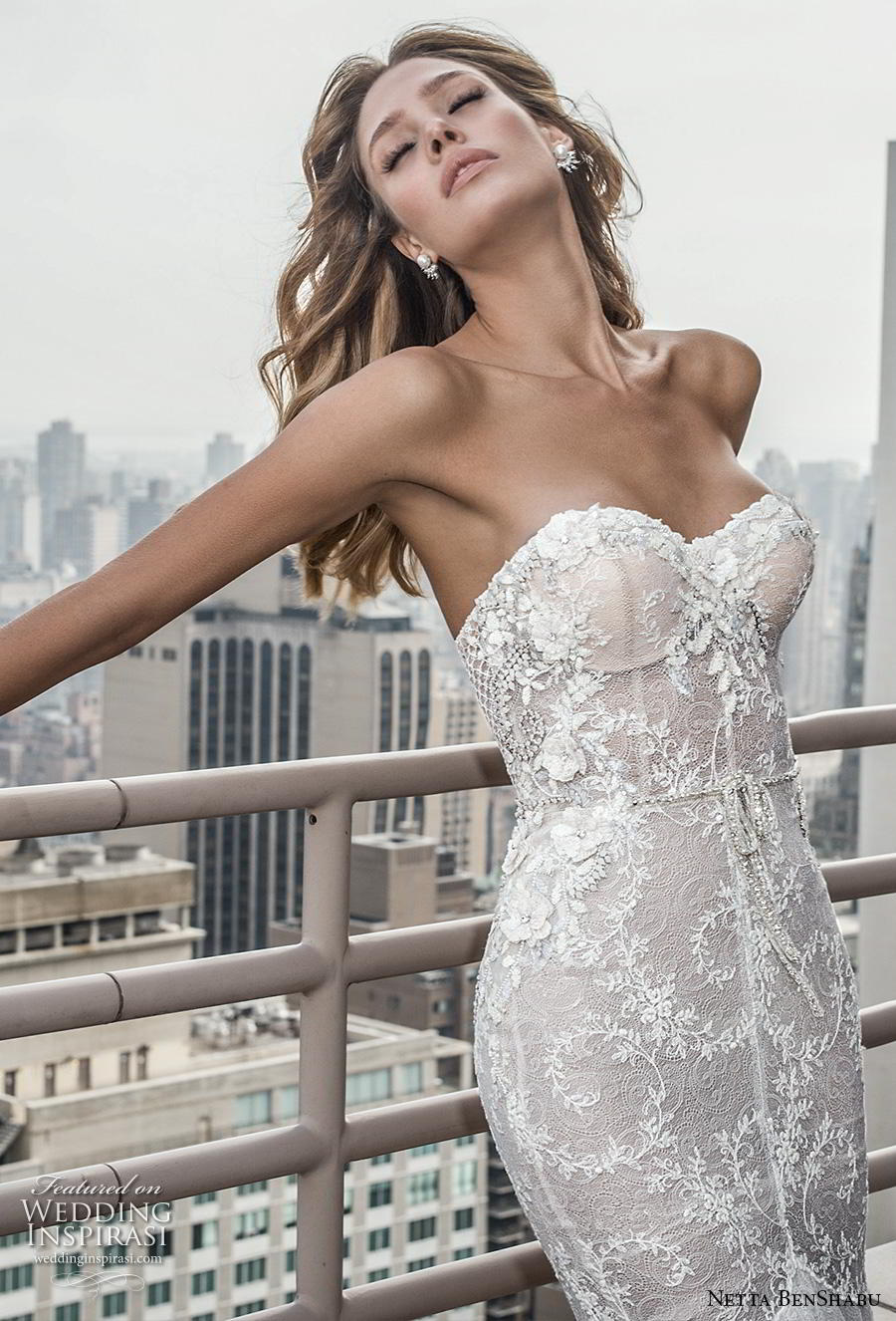 netta benshabu fall 2019 bridal strapless sweetheart neckline heavily embellished bodice elegant sexy mermaid wedding dress chapel train (3) zv