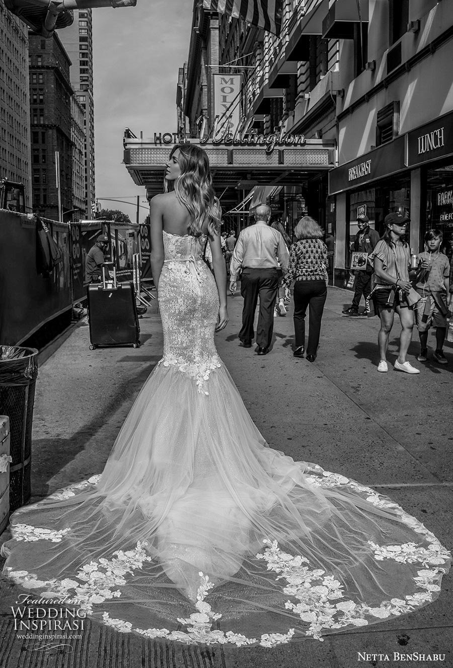 netta benshabu fall 2019 bridal strapless sweetheart neckline heavily embellished bodice mermaid wedding dress mid back chapel train (17) bv