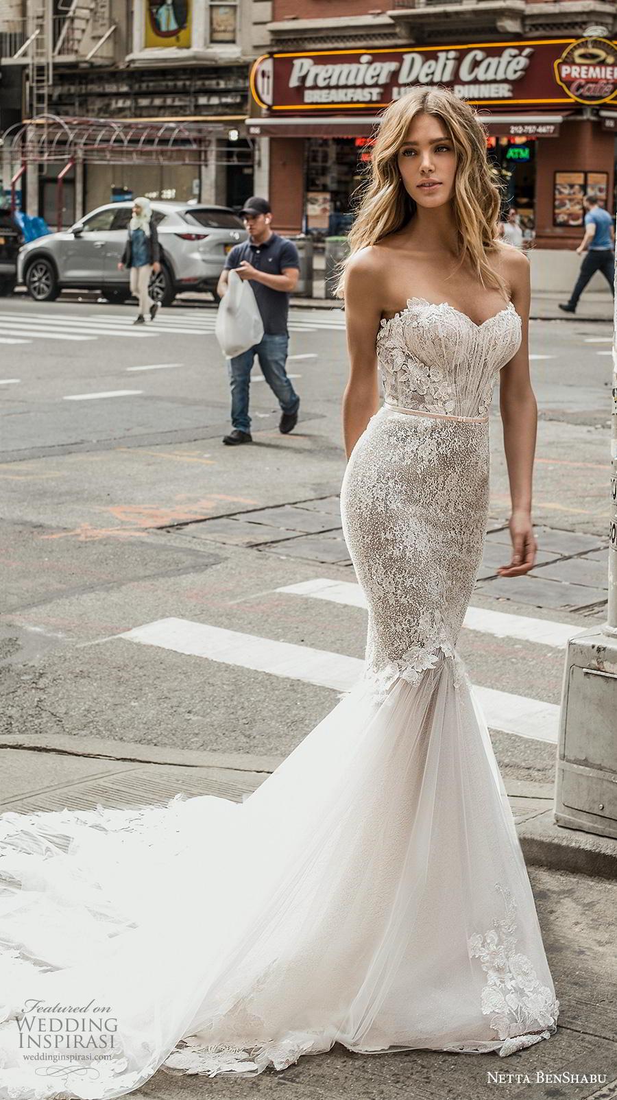 netta benshabu fall 2019 bridal strapless sweetheart neckline heavily embellished bodice mermaid wedding dress mid back chapel train (17) mv