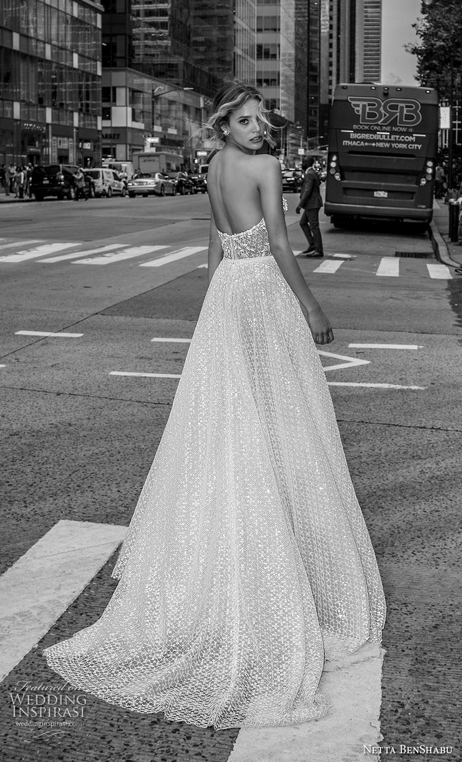 netta benshabu fall 2019 bridal strapless sweetheart neckline heavily embellished bodice romantic a  line wedding dress mid back medium train (15) bv