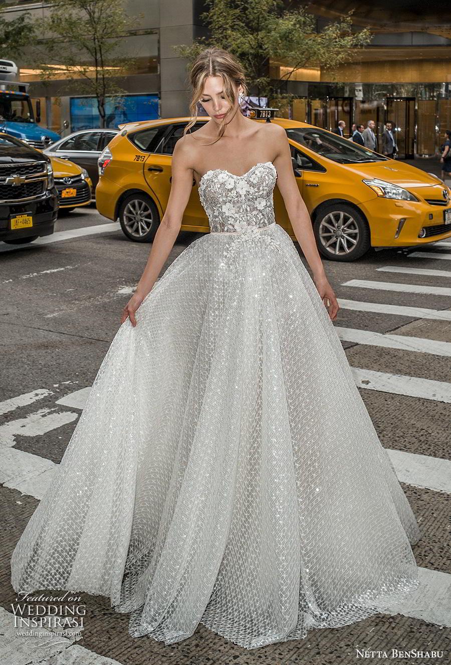 netta benshabu fall 2019 bridal strapless sweetheart neckline heavily embellished bodice romantic a  line wedding dress mid back medium train (15) mv