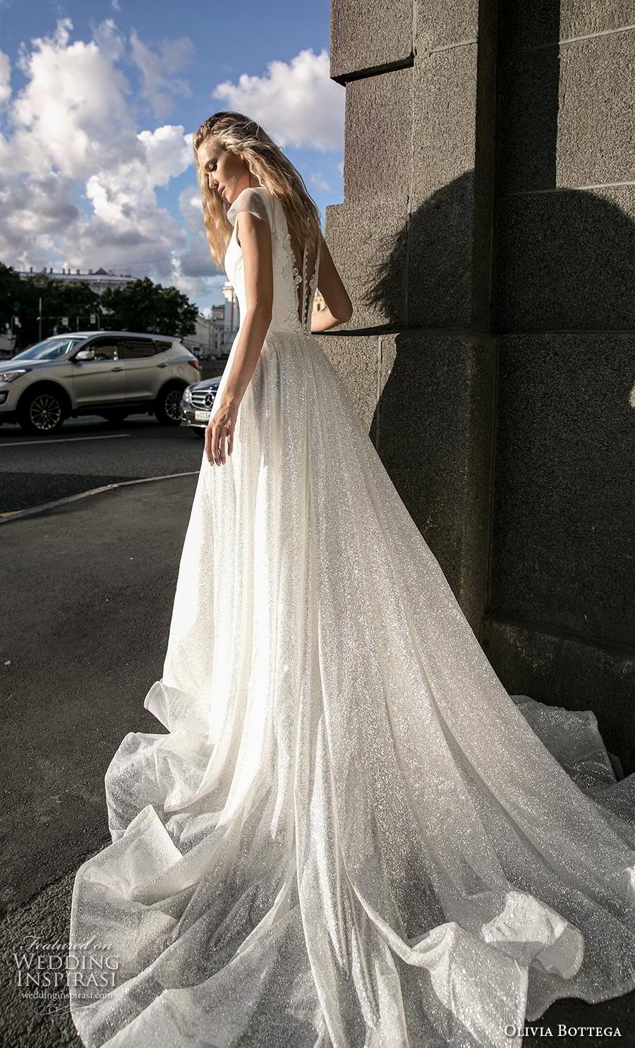 olivia bottega 2019 bridal cap sleeves deep v neck lightly embellished bodice shimmering skirt glamorous a  line wedding dress sheer button back chapel train (8) bv