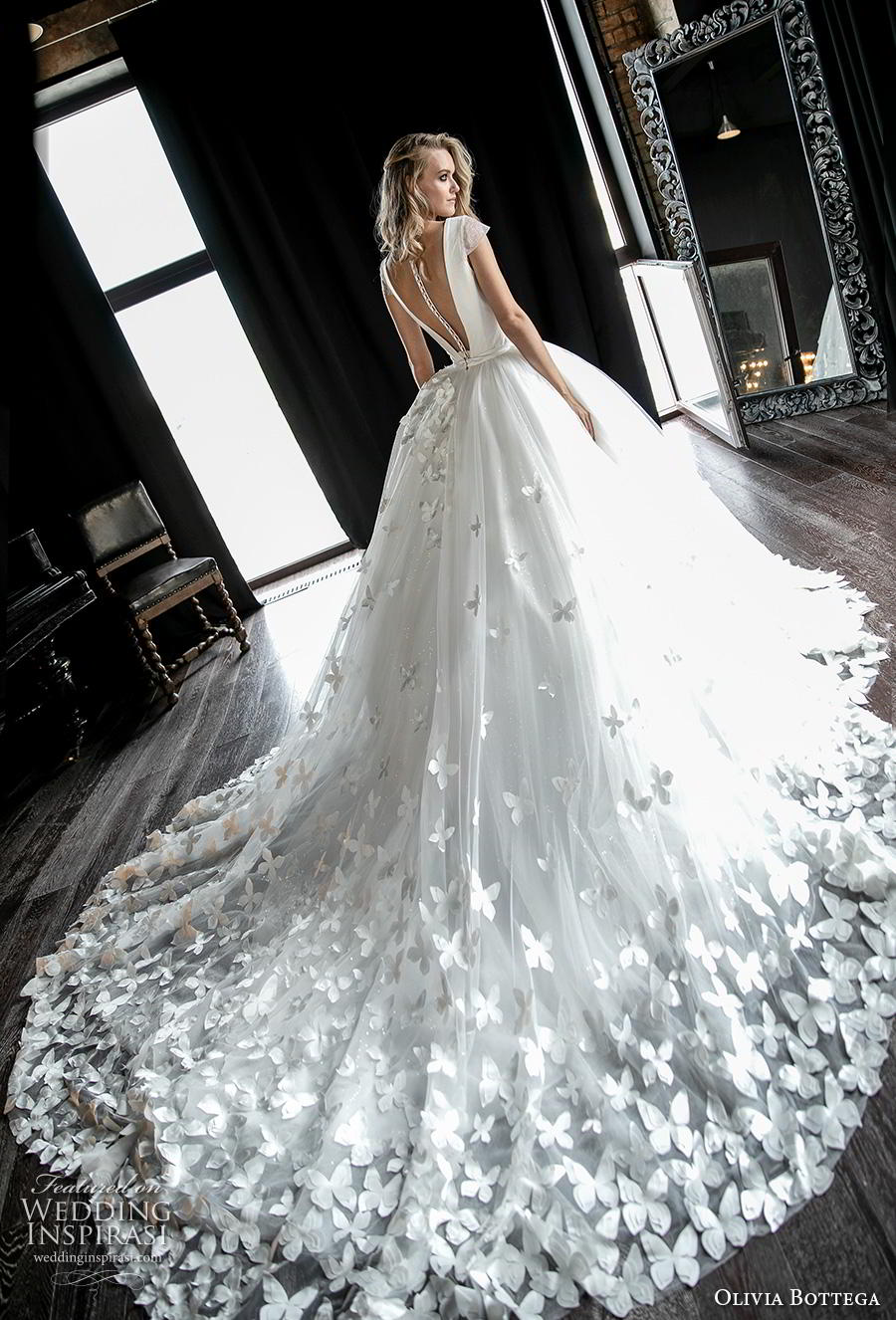 olivia bottega 2019 bridal cap sleeves deep v neck simple bodice heavily embellsihed skirt hem romantic ball gown a  line wedding dress sheer button v back royal train (16) bv mv