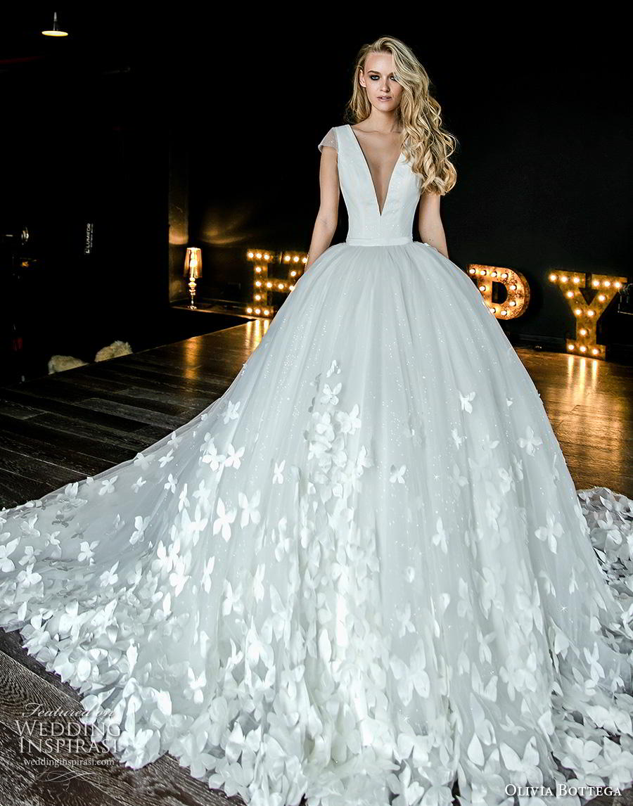 olivia bottega 2019 bridal cap sleeves deep v neck simple bodice heavily embellsihed skirt hem romantic ball gown a  line wedding dress sheer button v back royal train (16) fv