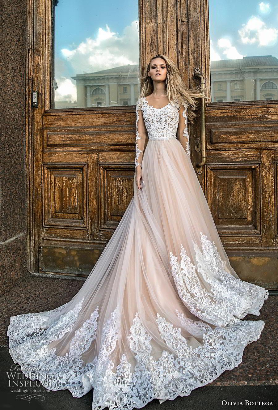 olivia bottega 2019 bridal long sleeves illusion bateau scoop neckline heavily embellished bodice hem tulle skirt glamorous ivory a  line wedding dress chapel train (15) mv